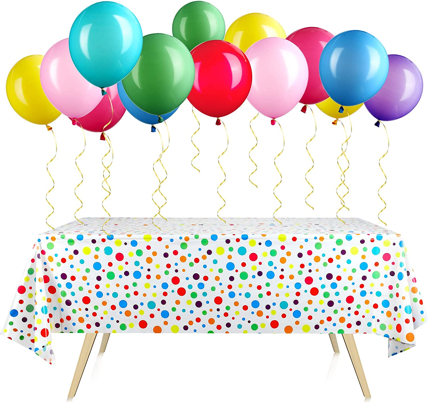 2 Pieces Polka Dot Plastic Tablecloth 51 x 71 Inch Rainbow Birthday Plastic Rectangle Table Cover with 24 Pieces 12 Inch Rainbow Party Latex Balloons for Baby Shower Birthday Party Wedding Engagement