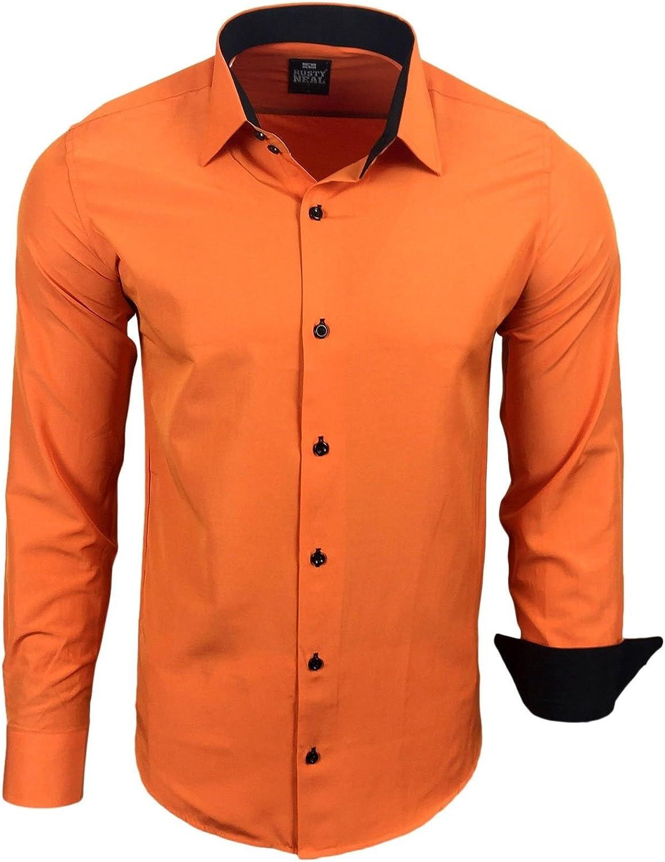Subliminal Mode – Camisa de hombre, cuello bicolor liso, manga larga, corte fino para negocios, idea regalo, Navidad, San Valentín RN44