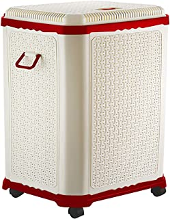 Primeway® Setag XL Multipurpose Laundry Hamper Utility Storage Basket with Lid on 4 wheels, 50 Litres, Red