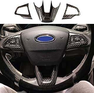 ruihe 3PCS Carbon Fiber Folor Steering Wheel Cover for Ford Focus Escape Kuga Not for RS ST
