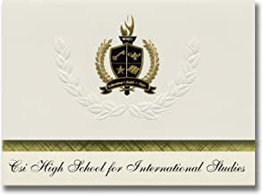 Signature Announcements Csi High School for International Studies (Staten Island, NY) Graduation Announcements, Presidential Basic Pack 25 with Gold&Black Metallic Foil seal