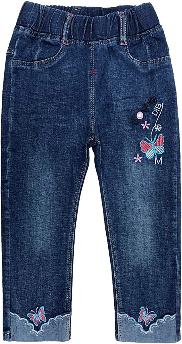 Peacolate LittleBig Girls Embroidery Denim Jeans Time sale Houston Mall Super Stretchy