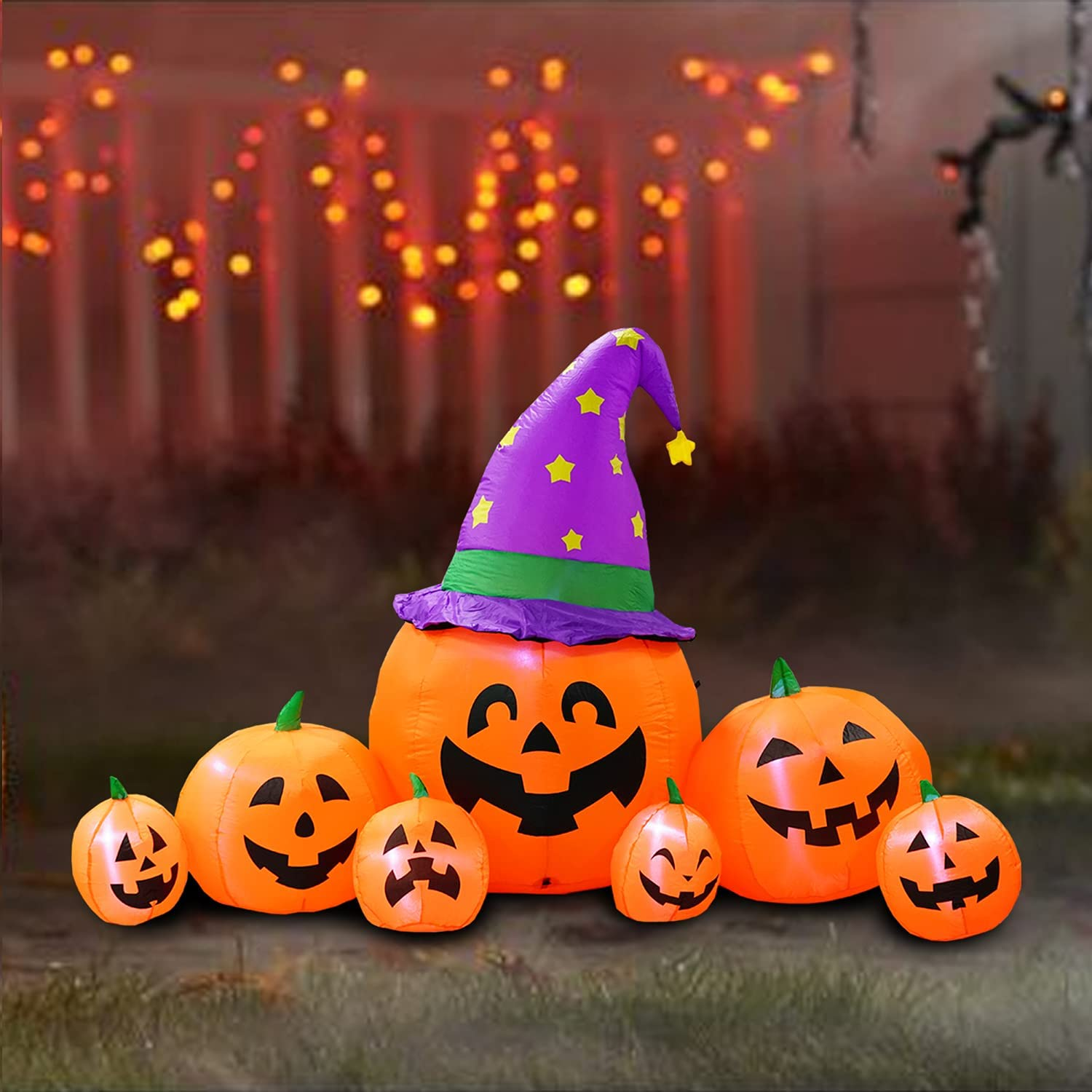 PARAYOYO 8 Ft Halloween Inflatable Pumpkins Lantern Family with Wizard Hat Decoration Lighted Blow Up Inflatables Jack O Lantern for Home Yard Lawn Garden Indoor Outdoor
