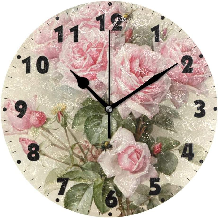 Beatiful Flowers 10 Inch Battery Round Quartz Qu Our shop most popular Operated Analog At the price