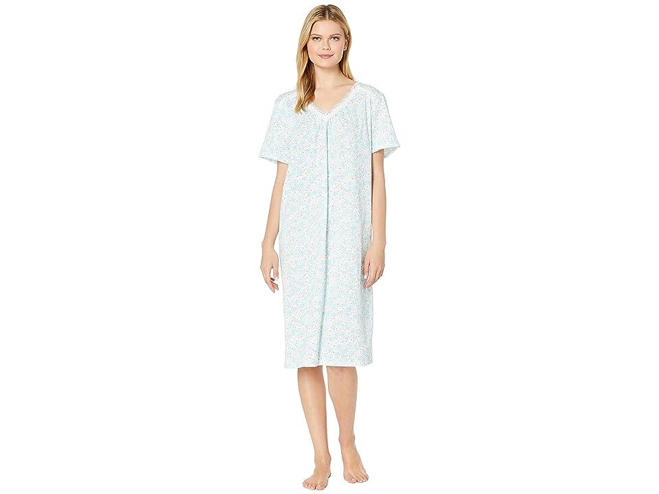 Carole Hochman Plus Size Long Gown CH81706X (Aqua Leaf Ditsy) Women