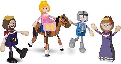 Melissa & Doug Wooden Flexible Figures 7-Piece Royal Kingdom Dolls for Dollhouses, Mix 2473