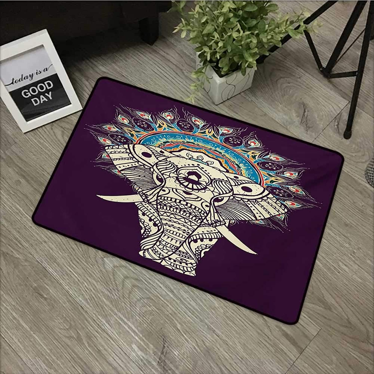 Living Room Door mat W35 x L59 INCH Ethnic,Ethnic Traditional Patterns with Swirl Floral Detail and Elephant with Plum Backdrop,Multicolor Non-Slip, with Non-Slip Backing,Non-Slip Door Mat Carpet
