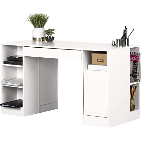 South Shore Crea Craft Table with Open and Closed Storage, Pure White