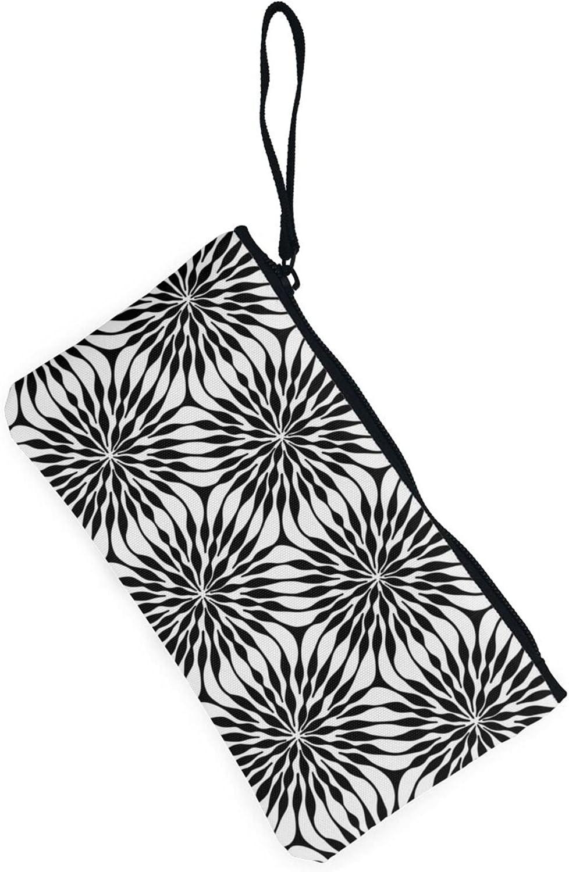 AORRUAM Illusion Flower Canvas Coin Purse,Canvas Zipper Pencil Cases,Canvas Change Purse Pouch Mini Wallet Coin Bag