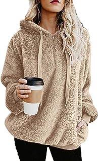 28ecdcfcbad WISREMT Women s Sherpa Pullover Fuzzy Fleece Hoodie Oversized Sweatshirt  Pocket