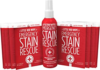 Emergency Stain Rescue Kit (1 x 4oz Bottle & 10 Individual Wipes) | Spray Cleaner | Stain Remover for Clothes | Non Toxic