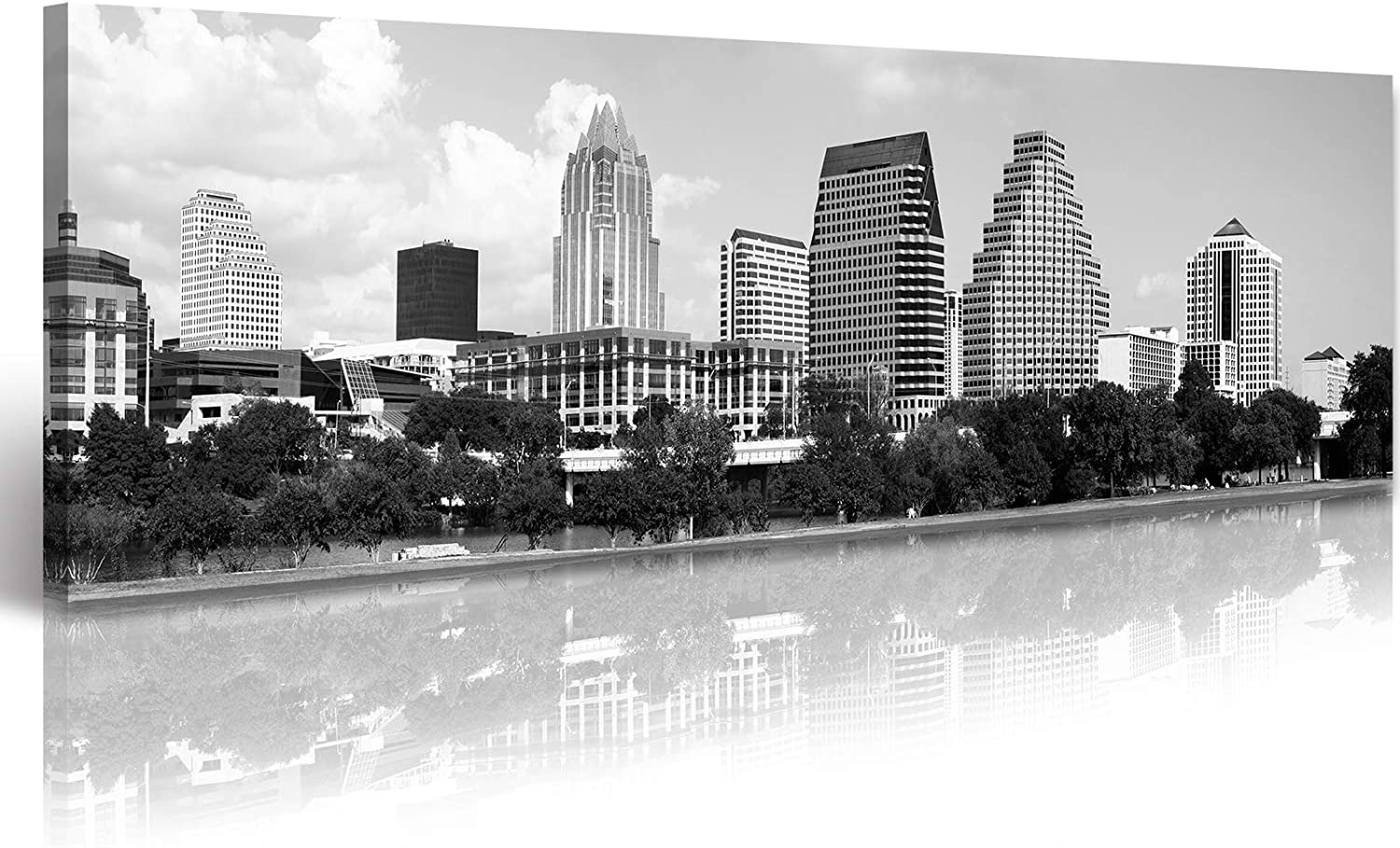 Black and White Wall Art for Living Room Canvas Prints Large City Scape Pictures for Office Decor Austin Skyline Poster Framed Painting Artwork Room Accessories Home Decorations