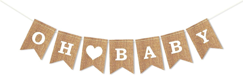 Oh Baby Banner - Burlap Banner | Pregannacy announcement Baby Shower Party Decorations/Gender Reveal Party Supplies/Welcome Baby Party Supplies - Baby Boy Girl Bunitng Garland Decor -8.5X5.5 Inch