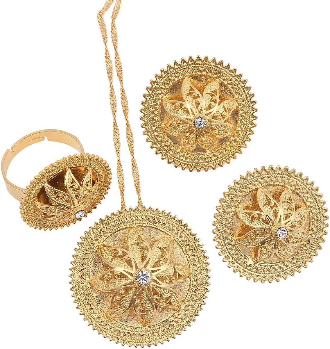 Ethiopian Trendy Pendant Chain Earrings Ring 24k Gold Color Eritrea Habesha Wedding Jewelry Set