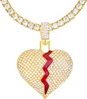 """metaltree98 Men's Iced Out Gold Tone Broken Heart Pendant 24"""" Tennis Chain Necklace THC 16875 G"""