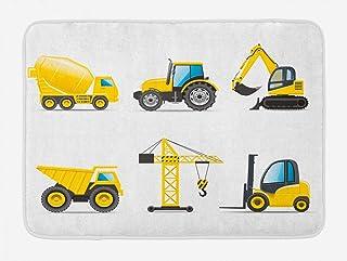 Lunarable Nursery Bath Mat Cartoon Style Heavy Machinery Truck Crane Digger Mixer Tractor Construction Plush Bathroom Deco...