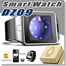 New DZ09 Bluetooth Smart Watch with Camera For iPhone 6 7 plus and Samsung S5 S6 S7 / Note 2 / 3 / 4, Nexus 6, HtC, Sony, BlackBerry Priv and Other Android Smart phones + Extra USB cable 3.4ft, (Gold)