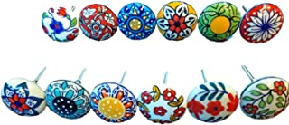 12 x Mix Vintage Look Flower Ceramic Knobs Door Handle Cabinet Drawer Cupboard Pull (12 Flat)