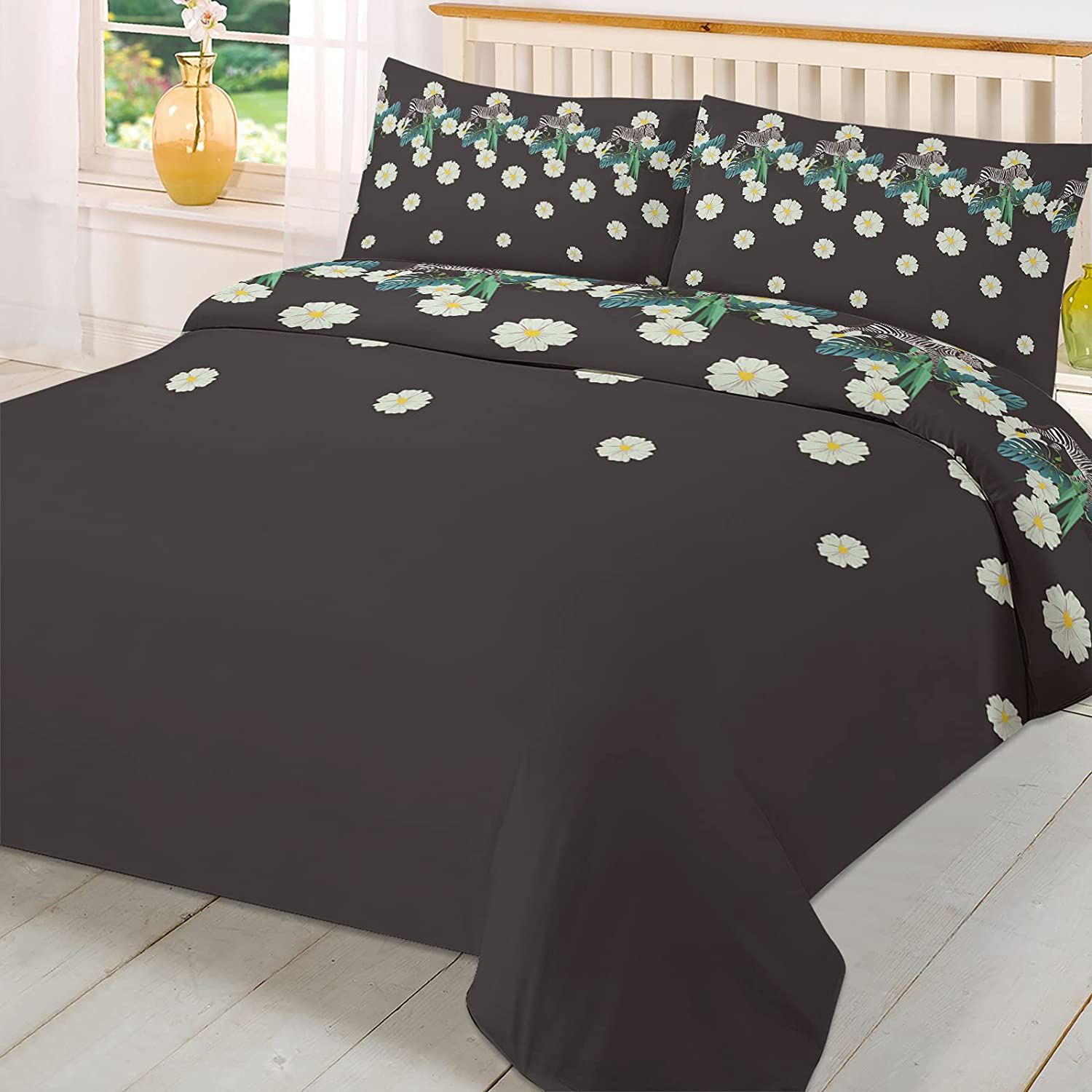 Olivefox service Full Duvet Cover Set Popular brand in the world Zebra Daisies Leaves Green and on