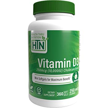 Health Thru Nutrition ビタミンD3 10,000Iu GMOなし ミニ ソフト ジェル 360カウント