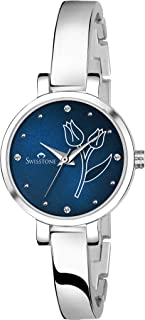 SWISSTONE Analogue Women's Watch (Blue Dial Silver Colored Strap)