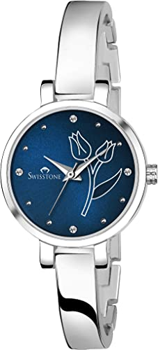 Analog Women s Watch Blue Dial Silver Colored Strap