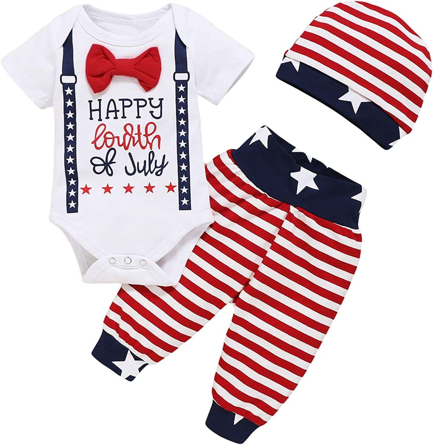 Shalofer Baby Boys My 1st 4th of July Outfits Infant American Flag Shorts Clothes