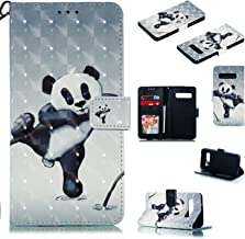 OUYAWEI Portable For For Samsung S10 3D Coloured Painted PU Magnetic Clasp Wallet Stand Phone Case with Lanyard Fighting bear Samsung S10
