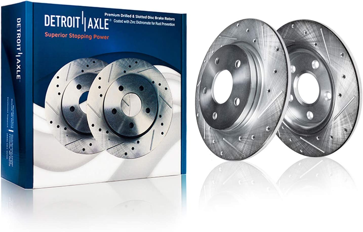 Detroit Axle - REAR Drilled Virginia Beach New item Mall Brake Performan Rotors Slotted and