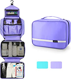 6.8L Hanging Toiletry Bag for Women, Toiletry Bag Organizer with 4 Compartments, Cosmetic Bag for Girls, Foldable Bathroom Kit, Portable and Waterproof Compact Travel Bag.(Purple)