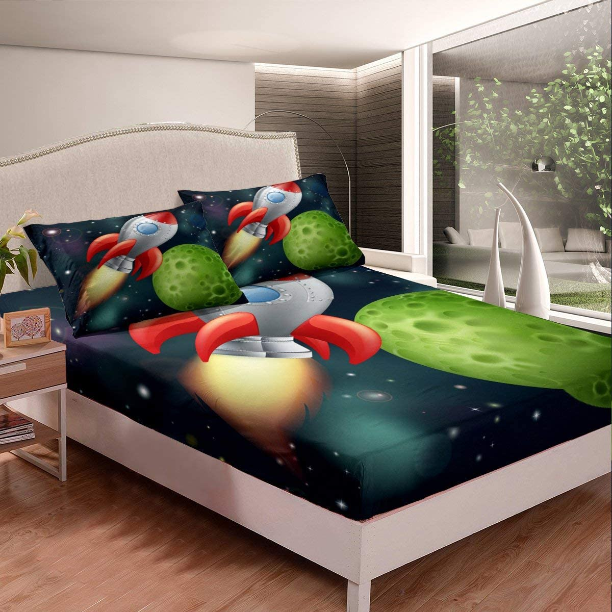 Erosebridal Kids Boys Outer Space Bedding Twin Rocket Size Cheap 100% quality warranty! mail order specialty store Set L