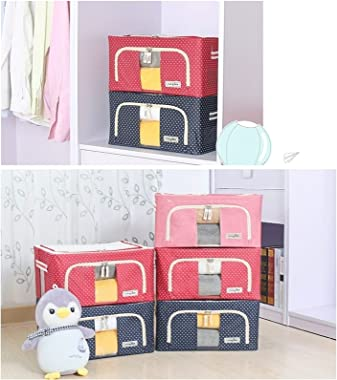 DaFei Large Clothes Storage Bag Organizer 2PCS, 24L Clothes Storage Bins, Foldable Closet Organizers Storage Containers (Colo