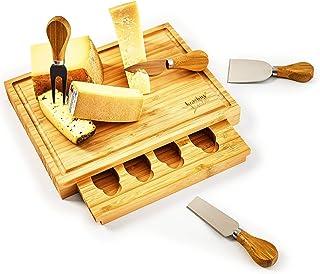bambuswald© tabla de quesos ecológicos con cuchillo de queso (4 piezas) - 100% bambú sostenible | tabla de quesos tabla de cortar cubiertos de queso tabla de servir cubiertos de queso