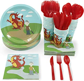 Disposable Dinnerware Set - Serves 24 - Dragon Party Supplies for Kids Birthdays Includes Plastic Knives, Spoons, Forks, Paper Plates, Napkins, Cups