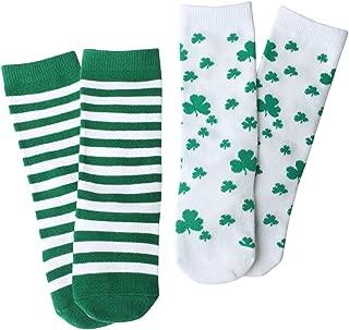 St. Patrick's Day Baby Toddler knee high socks Shamrock/Clover Green and White Striped Gift Set 2 Packs