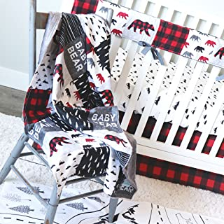 Lumberjack Red Plaid 4 Piece Crib Bedding Set