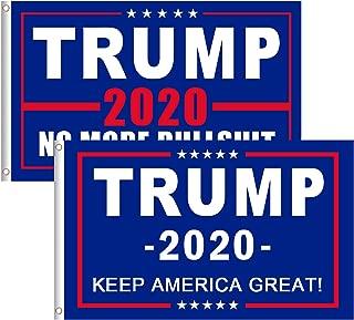 Amandir 2 Pcs Donald Trump 2020 Flag 3 X 5 Ft for President Keep America Great Flags