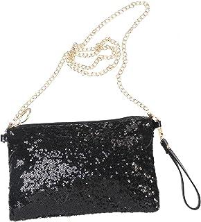 LUOEM Glitter Handbag Purse Shoulder Bag Sequin Evening Clutch for Women (Black)