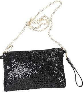 Glitter Handbag Purse Shoulder Bag Sequin Evening Clutch for Women (Black)