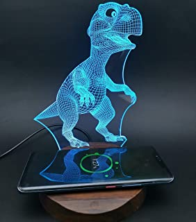 Dinosaur 3D Night Light Lamps with Wireless Charger,Compatible with iPhone XR/XS Max/XS/X / 8/8 Plus, Samsung Galaxy S9/S9+/S8/S8+/S7/Note 8 and All QI Enabled Devices (Without Adapter)