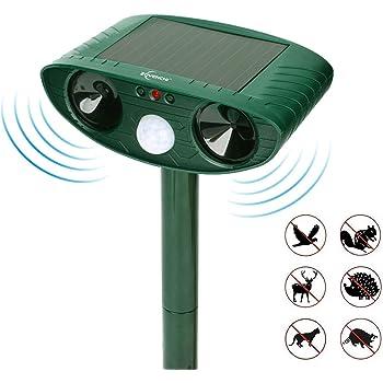 ZOVENCHI Ultrasonic Animal Pest Repeller, Outdoor Solar Powered Pest and Animal Repeller, Waterproof Deterrent Scarer - Motion Sensor, Repel Cat, Dog, Rabbits, Fox, Raccoons, Skunk, Rats