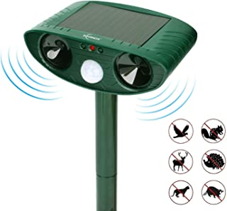 ZOVENCHI Ultrasonic Animal Pest Repeller, Outdoor Solar Powered Pest and Animal Repeller, Waterproof Deterrent Scarer - Motion Sensor, Repel Cat, Dog, Rabbits, Fox, Raccoons, Skunk, Rats