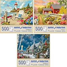 """Bits and Pieces - Value Set of Three (3) 500 Piece Jigsaw Puzzles for Adults - Each Puzzle Measures 18"""" X 24"""" - 500 pc Awaken, Guiding Lights, and Daydream Jigsaws by Artist Alan Giana"""