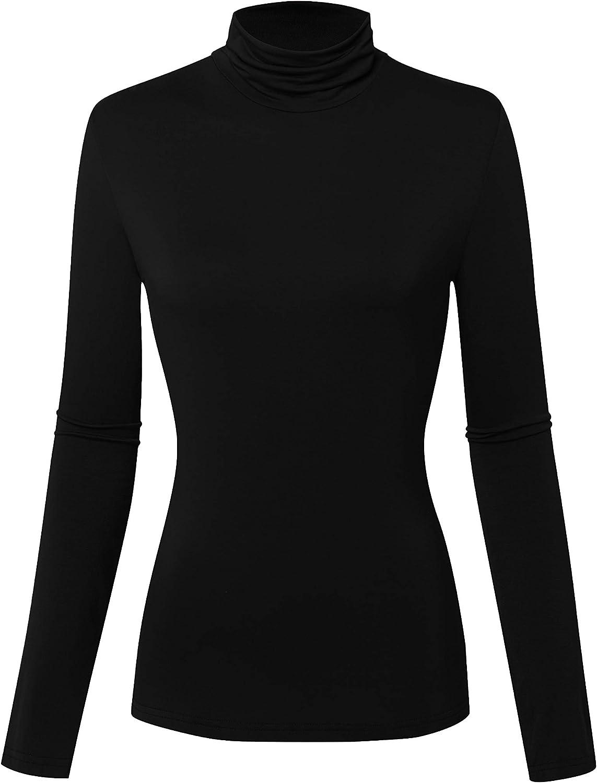 OCALLK Womens Long Sleeve Pullover Basic Turtleneck Soft Lightweight Thermal Underwear Tops Slim Active Shirt
