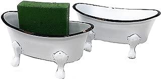 RAZ Imports Decorative Bathtub Containers White Enamel Distressed Soap Dish Holder Succulent Planter (Set of 2)