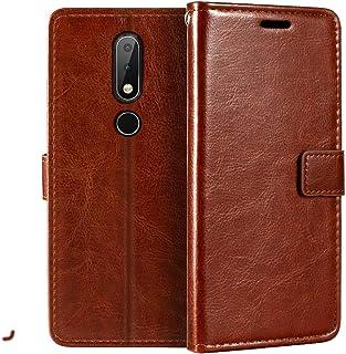 جراب محفظة Nokia 6.1 Plus، جراب قلاب مغناطيسي من الجلد الصناعي الممتاز مع حامل بطاقات ومسند لهاتف Nokia X6
