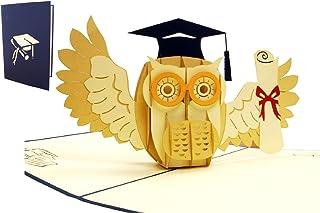 LIN17530, Pop Up 3D Karte Glückwunsch Grußkarten bestandene Prüfung, Abitur, Bachelor, Diplom, Doktor, Examen, Gutschein, Eule mit Urkunde, N284