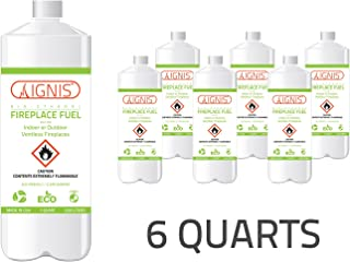 Ignis Ethanol Fuel Fireplace Fuel 6 Bottle Pack for Ventless Ethanol Fireplaces- Eco-Friendly