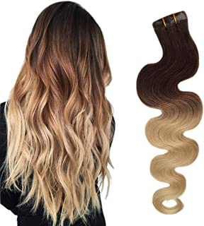BESFOR Tape in Hair Extensions Ombre Dark Brown to Bleach Blonde Seamless 100% Remy Human Tape Hair Extensions 60 Gram Per Package 20 Piece 22inch