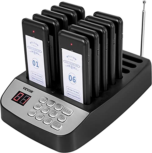 lowest VEVOR F100 Wireless Calling outlet online sale System, Restaurant Pager discount System 10 Pagers,Max 98 Beepers,Set with Vibration, Flashing and Buzzer for Church, Nurse,Hospital & Hotel online